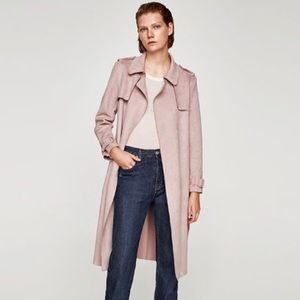 Zara Dusty Pink Lightweight Faux Suede Trench